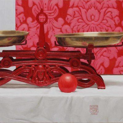 La bilancia rossa - 2011 olio su tavola 40 x 100 cm