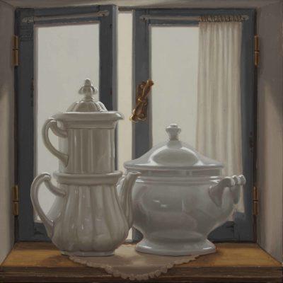 Le sorelle Materassi alla finestra - 2018, olio su tavola 50 x 50 cm