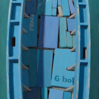 Puzzleboat - 2013, olio su tavola 150 x 50 cm
