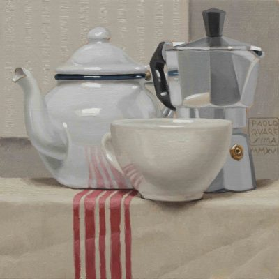 The o caffè - 2016, olio su tavola 20 x 20 cm