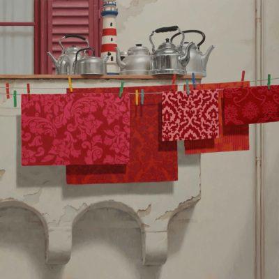 The rosso e faro - 2015, olio su tavola 150 x 150 cm
