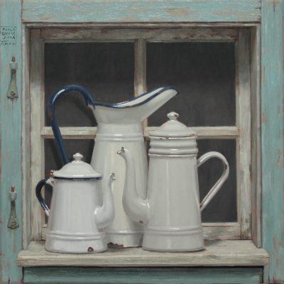 Tre alla finestra - 2014, olio su tavola 50 x 50 cm