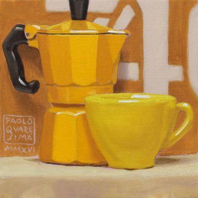 Giallocaffè - 2016, olio su tavola 15 x 15 cm