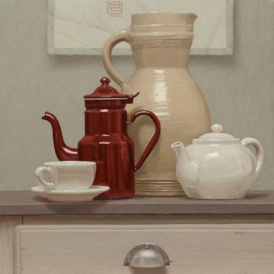 The o caffè$ - 2014, olio su tavola 50 x 50 cm