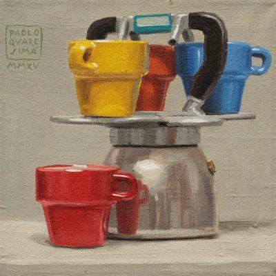 Caffè a colori - 2015, olio su tela 20 x 20 cm