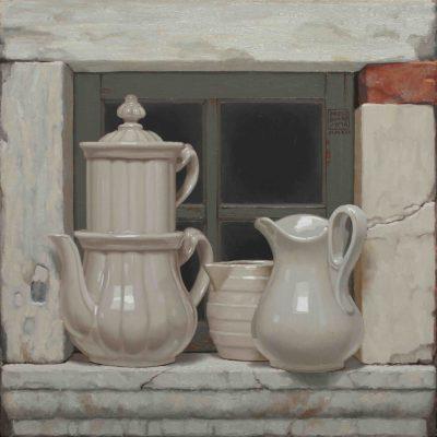 Coccio & pietra - 2017, olio su tavola 50 x 50 cm