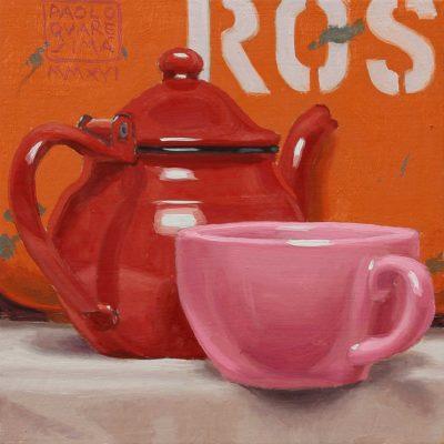 The rosso - 2016, olio su tavola 15 x 15 cm