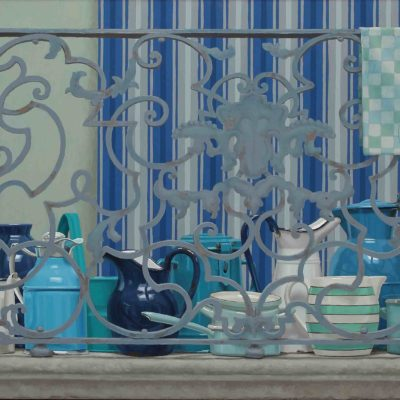 Balcone vista mare - 2014, olio su tavola 80 x 170 cm