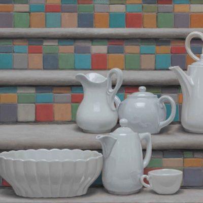 Arlecchino & Pulcinella - 2014, olio su tela 60 x 150 cm