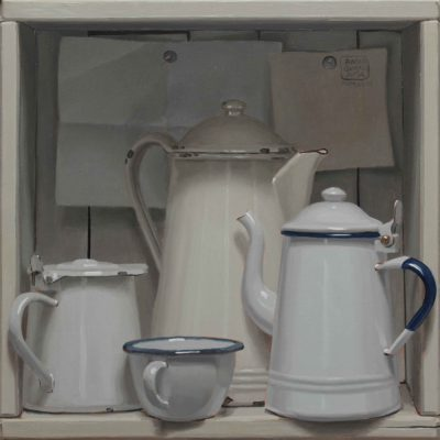 Bianca cassa di caffè - 2018, olio su tavola 40 x 40 cm