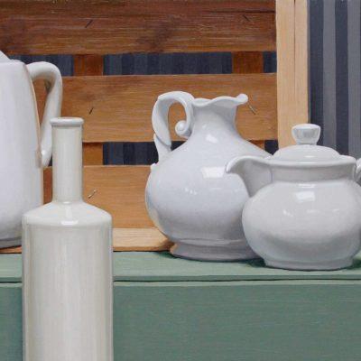 Dove appoggia - 2011 olio su tavola 35 x 85 cm