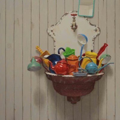 Lavandino intasato - 2015, olio su tavola 100 x 100 cm