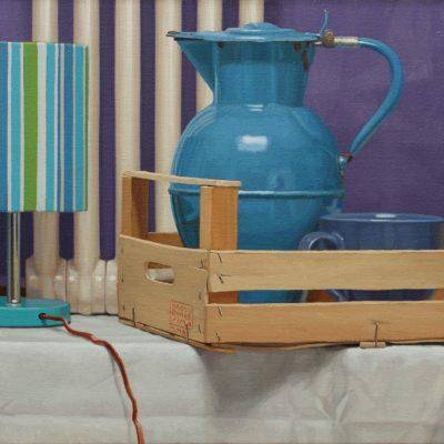 Abat-jour a righe - 2010, olio su tela 40 x 50 cm