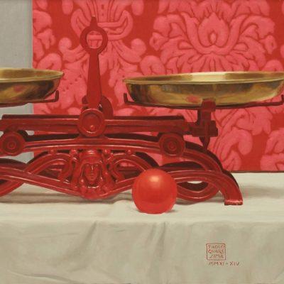 Bilancia rossa - 2010-14, olio su tavola 40 x 100 cm