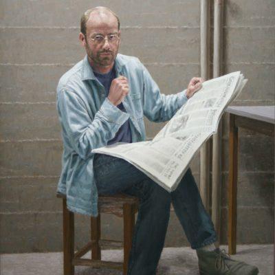 Andrea con giornale- tela 150x110 cm