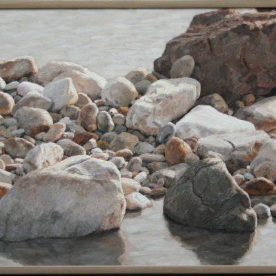 Acqu&sassi, in mezzo al torrente-tav 60x150 cm