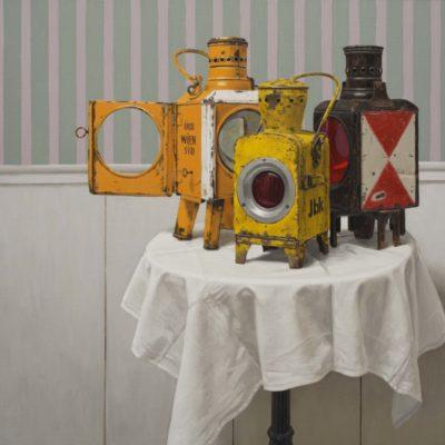 Bouquet di lampade da ferroviere - tela 100 x 120 cm