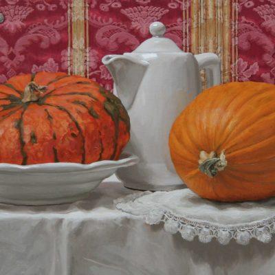 Zucche e damasco- tav 30x63 cm