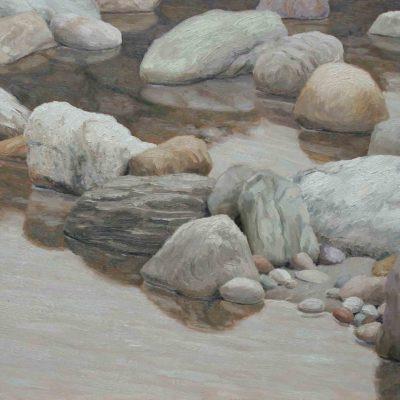 Acqu&sassi 1 - 2001 - olio su tavola 60 x 120 cm