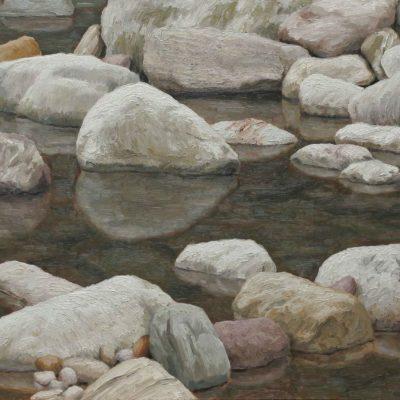 Acqu&sassi 2 - 2001 - olio su tavola 60 x 120 cm