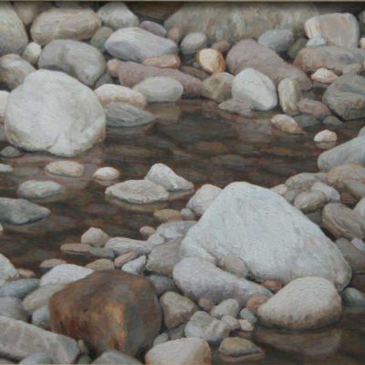 Acqu&sassi - 2001 olio su tavola 60 x 150 cm