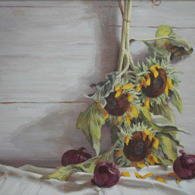Cipolle e girasoli - 1999 - olio su tavola 60 x 80 cm