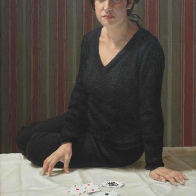Dama di fiori - 2006, olio su tavola 80 x 50 cm
