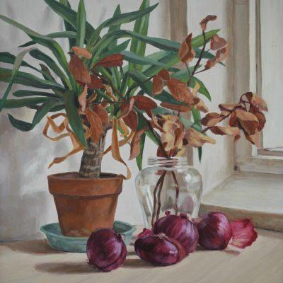 Foglie e cipolle - 1999 - olio su tavola 56,5 x 54,5 cm