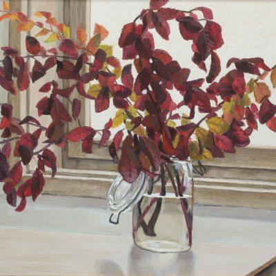 Foglie rosse - 1999 - olio su tavola 54 x 114 cm