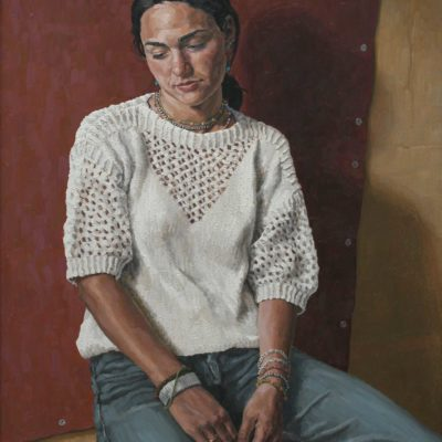Foglio rosso - 2001 - olio su tavola 88 x 68 cm