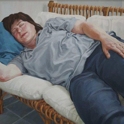 Il divanetto di vimini - 1999 - olio su tavola 60 x 80 cm
