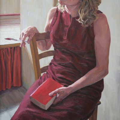 La biro rossa - 1999 - olio su tavola 100 x 60 cm