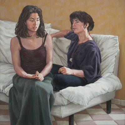 La parete ocra - 2000 - olio su tavola 100 x 100 cm