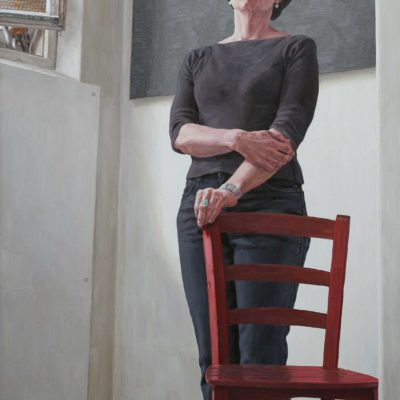 La sedia rossa ( Mahler, sinf. n° 10, adagio ) - 2000 - olio su tavola 145 x 100 cm