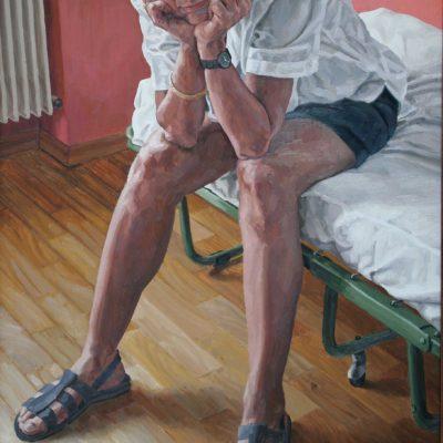 La stanza rossa - 2000 - olio su tavola 100 x 60 cm