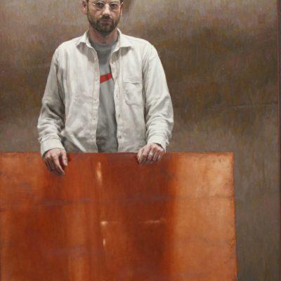 Legno e rame - 2003, olio su tela 160x110 cm