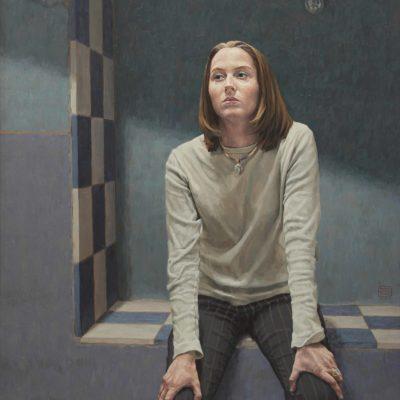 Lucia e lampadina - 2003, olio su tavola 140 x 110 cm