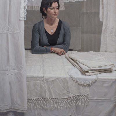 Storia tra le pieghe - 2005, olio su tela 150 x 120 cm
