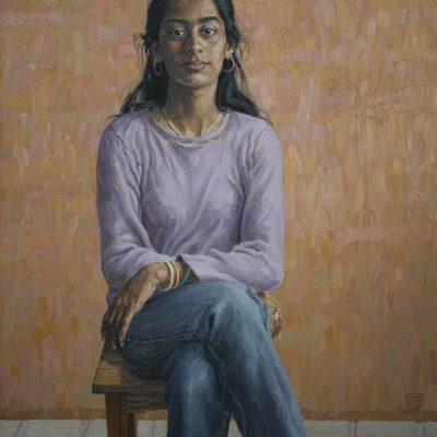 Sullo sgabello ( Arwa ) - 2002 - olio su tela 100 x 80 cm