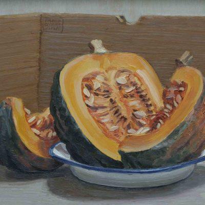 Zucca e cartone - 1999 - olio su tavola 30 x 40 cm