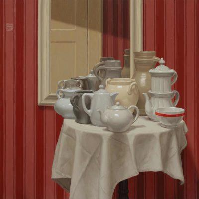 Righe-rosse,-ma-una-di-più-2019,-olio-su-tavola-100-x-100-cm