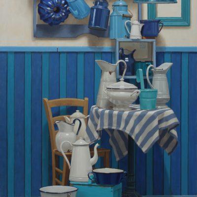 Blu su bianco bianco su blu 2019 olio su tavola 180 x 125 cm. 400x400 - 02.Works